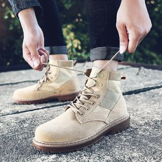 Image of Stitched Lace-Up Ankle Boots