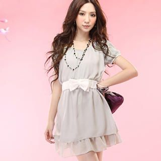 Buy Tokyo Fashion Lace-Sleeve Belted Chiffon Dress 1022963970