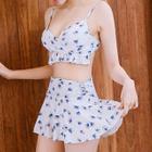 Set: Floral Print Bikini + Lace Top 1596