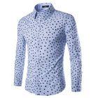 Printed Long-Sleeve Shirt Navy Blue - XL от YesStyle.com INT