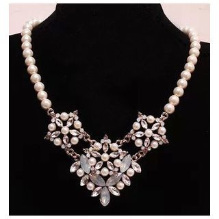 Rhinestone Faux Pearl Necklace 1045134173