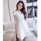 Long-Sleeve / Short-Sleeve / 3/4-Sleeve Cutout A-Line Mini Dress 1596