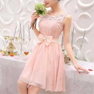 Sleeveless Bow Accent Lace A-Line Cocktail Dress 1039174955