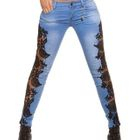 Lace-Panel Skinny Jeans 1596
