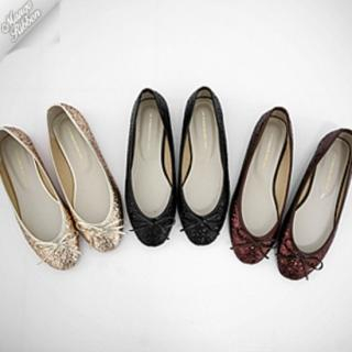 Picture of Mango Ribbon Beribboned Glitter Flats 1022969202 (Flat Shoes, Mango Ribbon Shoes, Korea Shoes, Womens Shoes, Womens Flat Shoes)