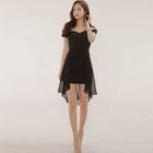 Off-Shoulder Asymmetric Bodycon Dress 1596