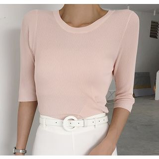 Image of Crew-Neck Elbow-Sleeve Knit Top