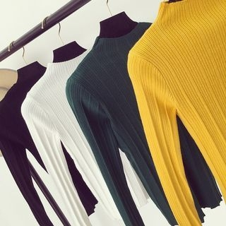 Mock Neck Rib Knit Top 1057643490