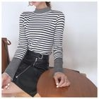 Set: Striped Knit Top + Faux-Leather Skirt 1596