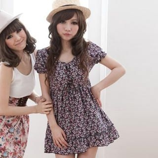 Buy ZOO Short-Sleeve Lace-Up Floral Dress 1022926730