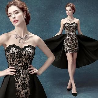 Strapless Lace Dip-Back Party Dress