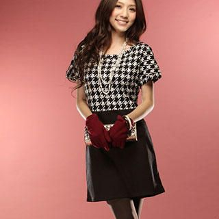 Buy Tokyo Fashion Houndstooth Mock Two Piece Dress 1022098293