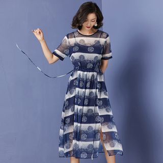 Short-sleeve | Spaghetti | Chiffon | Strap | Dress