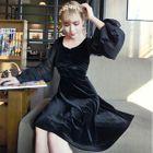 Chiffon-Sleeve A-Line Velvet Dress 1596