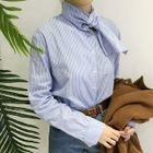 Tie neck Pinstriped Blouse 1596