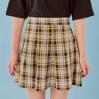 Pleated Plaid Mini Skirt 1061239198