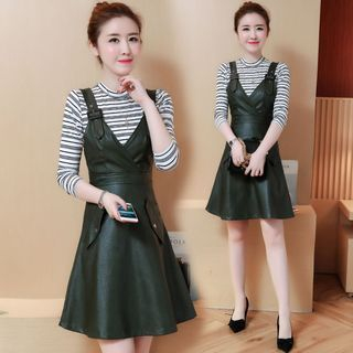 Set: Striped Long-Sleeve Knit Top + Faux-Leather Pinafore Dress 1062795764