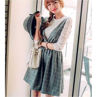 Set: Lace Long Sleeve Top + Window Pane A-Line Pinafore Dress 1053116475