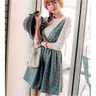 Set: Lace Long Sleeve Top + Window Pane A-Line Pinafore Dress 1596