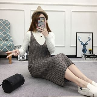 Ribbed Spaghetti-Strap Knit Dress 1057303735