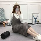 Ribbed Spaghetti-Strap Knit Dress 1596