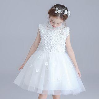 Kids Flower Applique Sleeveless Tulle Dress 1058524516