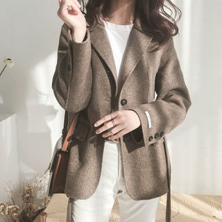 Image of Woolen Single-Breasted Coat