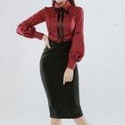 Bow Neck Blouse / Pencil Skirt 1596