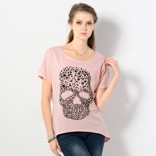 studded-short-sleeve-skull-pirnt-top-pink-one-size