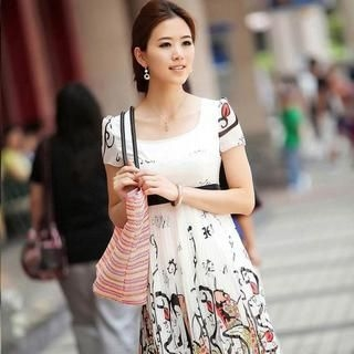 Buy Aza Short-Sleeve Print Pleated Dress 1022931419