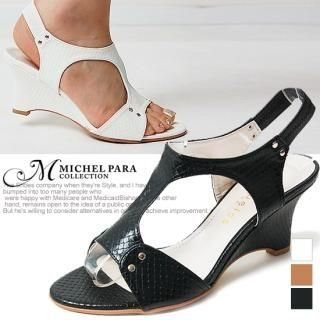 Buy MICHEL PARA COLLECTION Cut-Out Wedge Slingback Sandals 1022937538