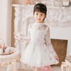 Kids Mock Neck Long Sleeve Mini A-Line Lace Dress 1596