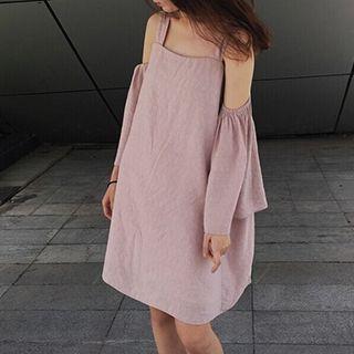 Cutout Shoulder Bell-Sleeve Dress 1052838090