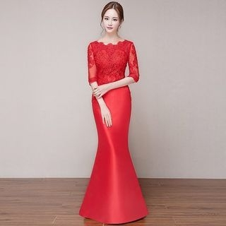 Elbow-Sleeve Lace Panel Mermaid Evening Gown 1053827560