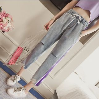 Image of Cropped Ripped Baggy Jeans