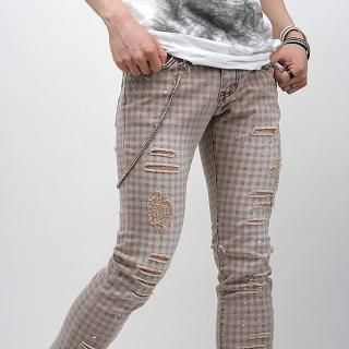 Buy Peeps Distressed Detail Check Pants 1022796977