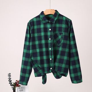 Image of Long-Sleeve Plaid Front Knot Shirt
