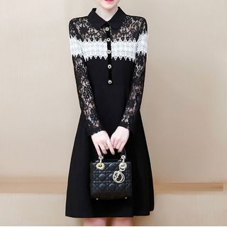 Image of Collared Two-Tone Long-Sleeve Mini A-Line Dress