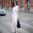 Short-Sleeve Tie Waist Maxi Dress 1596