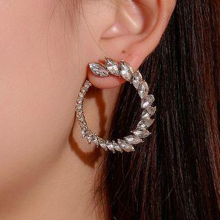 Rhinestone | Earring | Hoop | Gold | Size | One