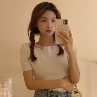 Image of Bow Detail Short-Sleeve Knit Top