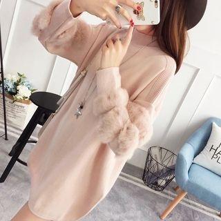 Faux Fur Trim Knit Tunic 1062999296