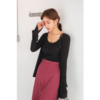 Set: Round-Neck Ribbed Cardigan + Spaghetti-Strap Top 1057597558
