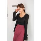 Set: Round-Neck Ribbed Cardigan + Spaghetti-Strap Top 1596