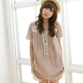 Picture of MYHEART Lace-Trim Pintuck Tunic 1023058566 (MYHEART Dresses, Womens Dresses, Taiwan Dresses, Tunics)