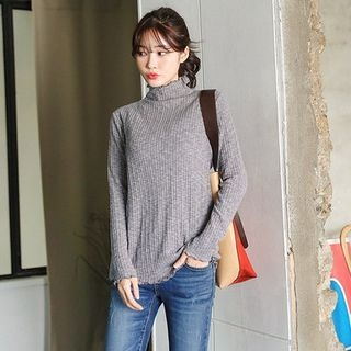 Mock-Neck Ribbed Top 1053944772