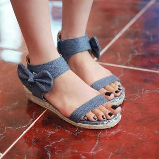 Buy Sunbijou Bow-Accent Denim Sedge Sandals 1023062986