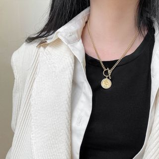 Image of 925 Sterling Silver Coin Pendant Necklace Gold-plated - Gold - One Size