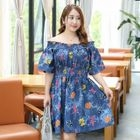 Off-shoulder Print Short-Sleeve Dress 1596