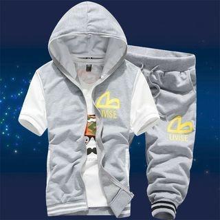 Set: Hooded Short-Sleeve Jacket + Cropped Sweatpants 1049076928